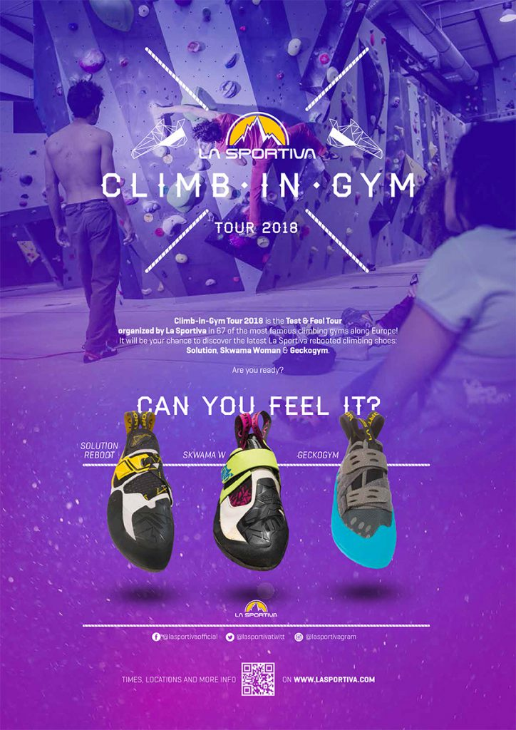 From September 4 to November 29 the La Sportiva Climb-In-Gym Tour will touch 16 countries and almost 70 climbing gyms, giving the opportunity to try 3 new climbing shoes of the climbing 2019 collection