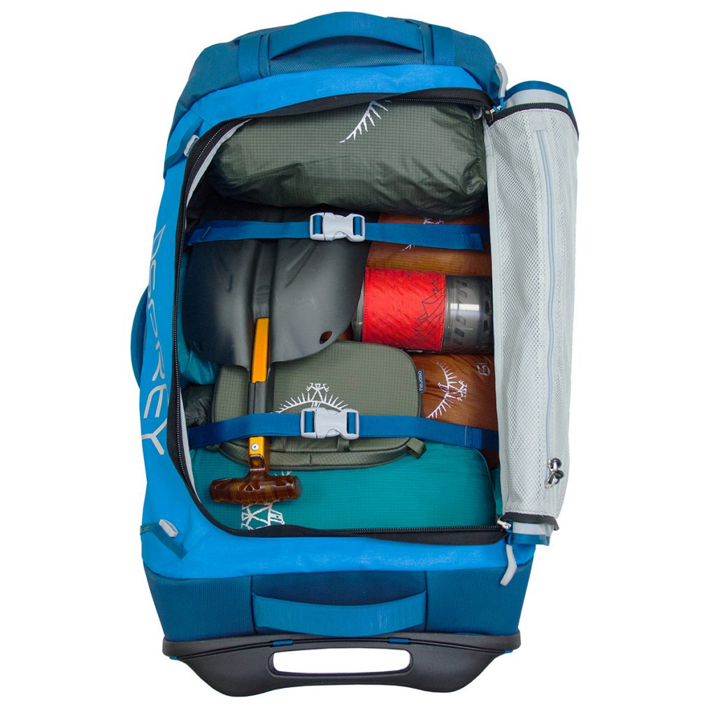 Travel pack dufflebag with wheels: the main pouch opens to the side, allowing Rolling Transporter to be packed like a suitcase.