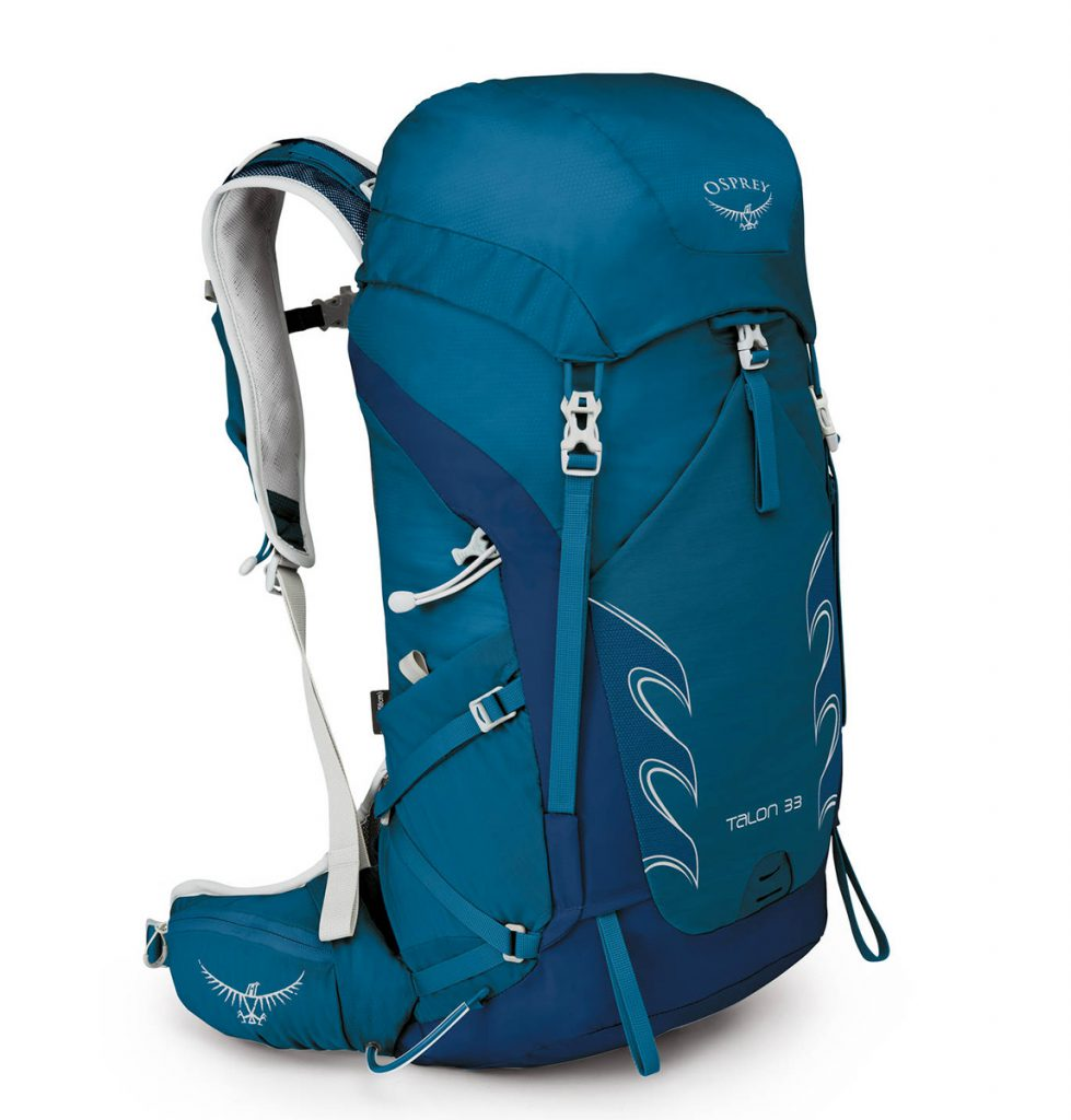 Backpacking pack Osprey Talon: a versatile 33-liter backpack, lightweight, comfortable, durable and versatile for long days outdoors.