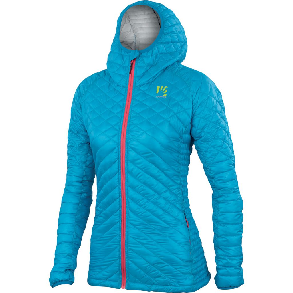 Womens climbing jacket Sassopiatto by Karpos for winter outdoors, lightweight and compressible, ideal for alpinism and ski mountaineering.