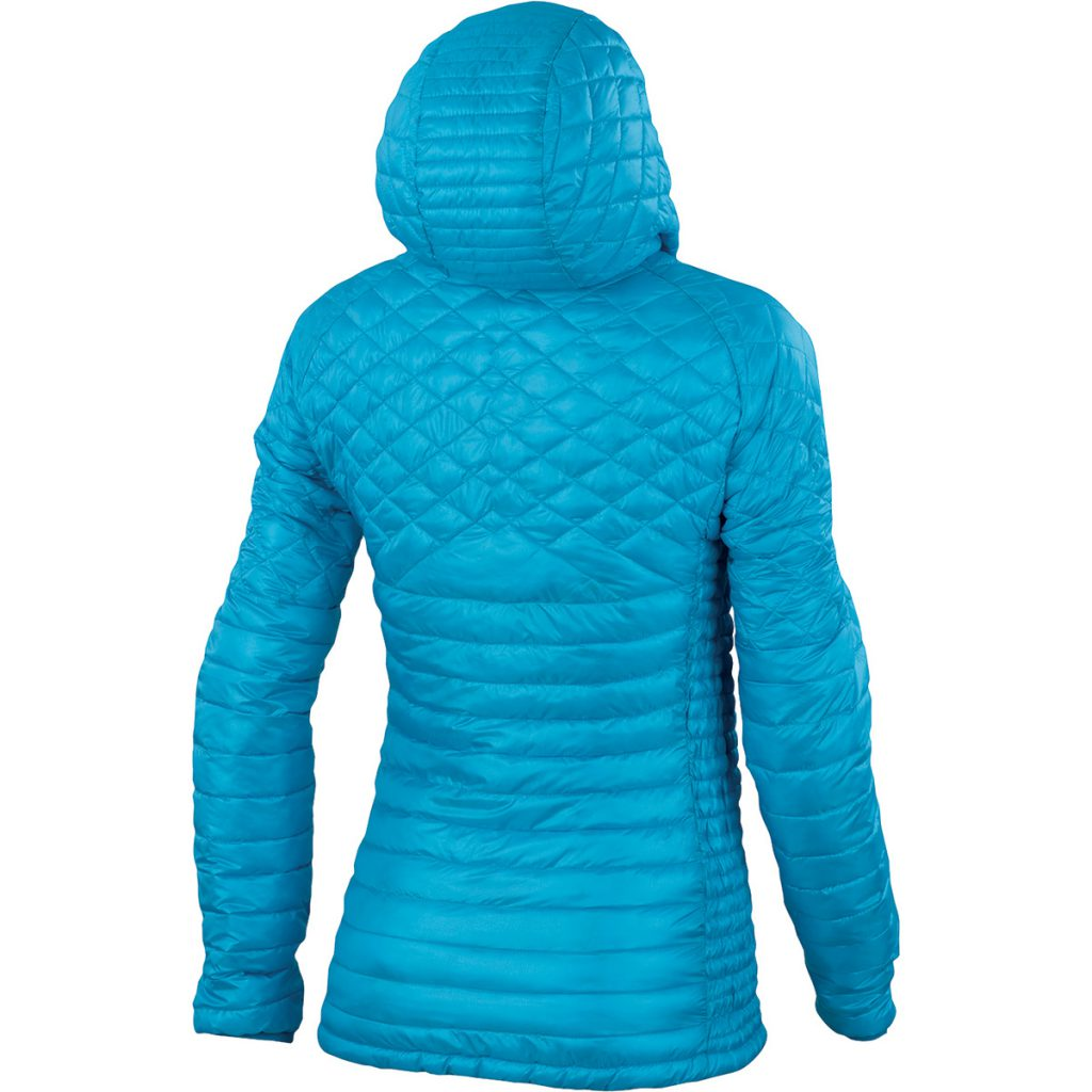 Women's climbing jacket Sassopiatto by Karpos for winter outdoors, lightweight and compressible, ideal for alpinism and ski mountaineering.