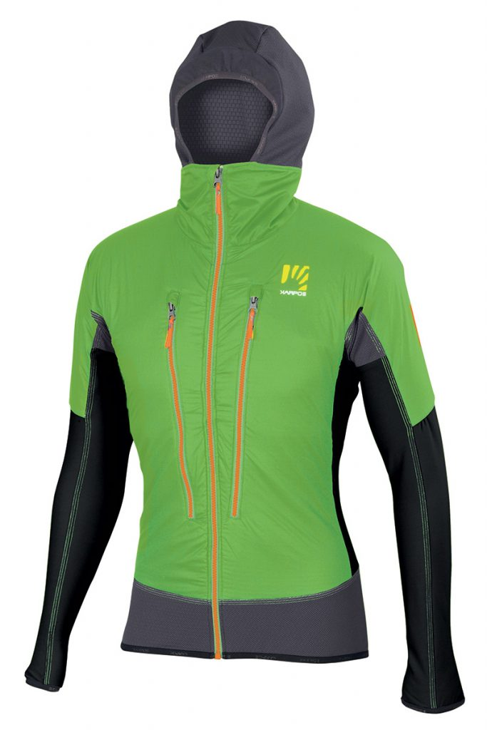 Extremely versatile ski touring jacket Alagna Plus by Karpos with hood and Polartec breathable wind protection ideal as a warm-up jacket over a race suit