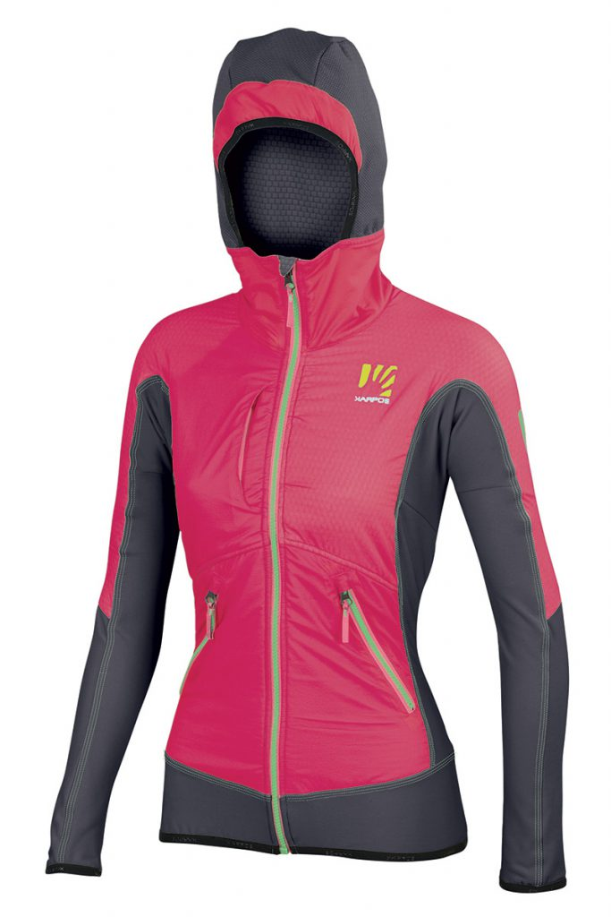 Extremely versatile ski touring jacket women Alagna Plus W by Karpos with hood and Polartec breathable wind protection ideal as a warm-up jacket over a race suit