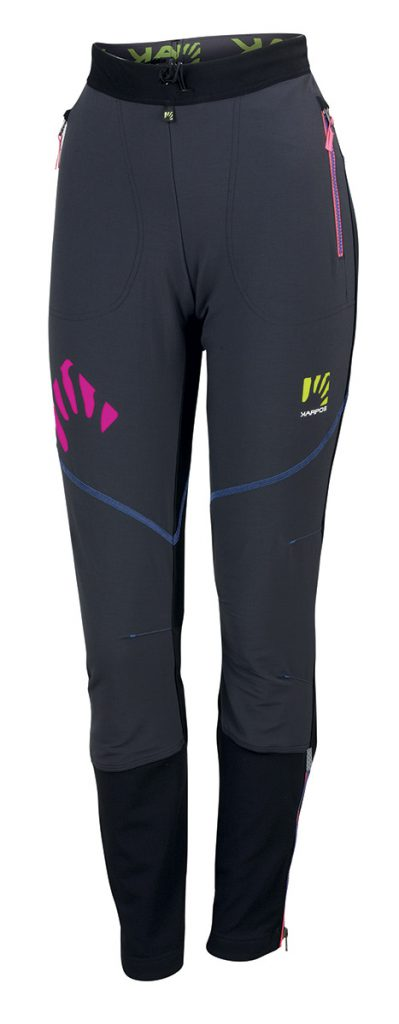 Womens ski touring pants Alagna Plus Pant by Karpos with stretchy, durable and windproof Cordura fabric for ski mountaineering.