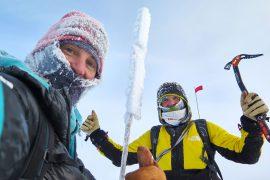 Simone Moro e Tamara Lunger in cima al Pik Pobeda, Siberia il 11/02/2018
