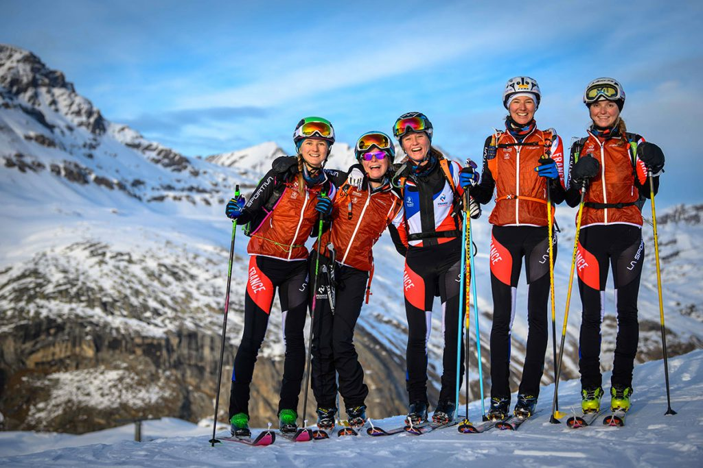 The French ski mountaineering team wearing the La Sportiva clothing