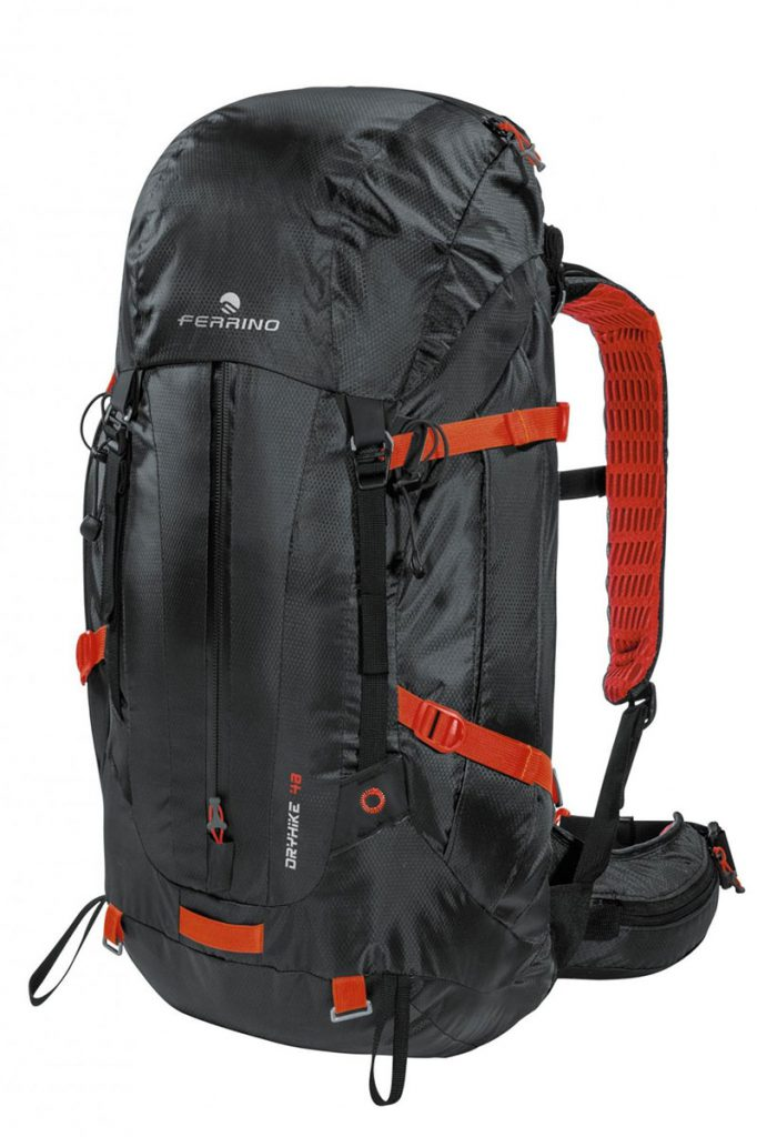 Waterproof backpack Dry Hike 48+5 by Ferrino, a trekking rucksack with 100% waterproofness for walking in the mountains in all conditions.