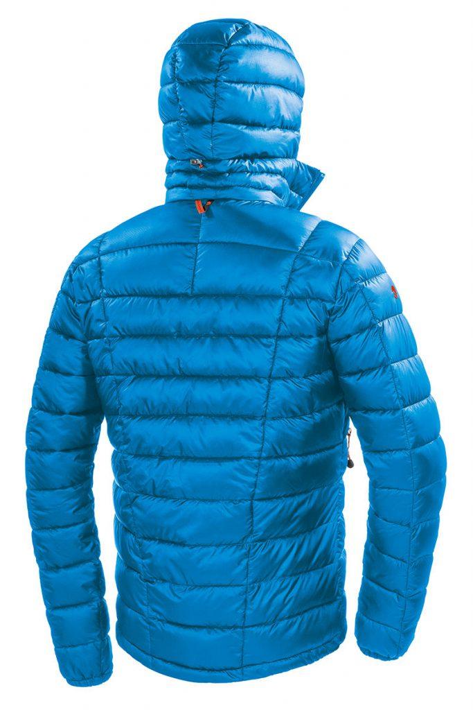 Giacca alpinismo uomo Viedma Jacket con fondo regolabile con coulisse, polsino elasticizzato,  cappuccio con apertura frontale elasticizzata e regolazione posteriore,  tasche laterali e tasca napoleone, custodia di compressione.