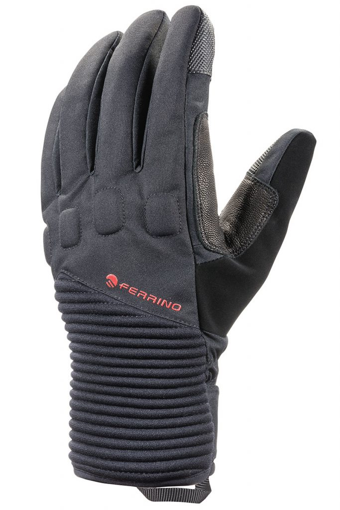 Padded, waterproof climbing gloves React by Ferrino ideal for winter mountaineering in all conditions. Leather palm, adjustable cuff and reinforcements.