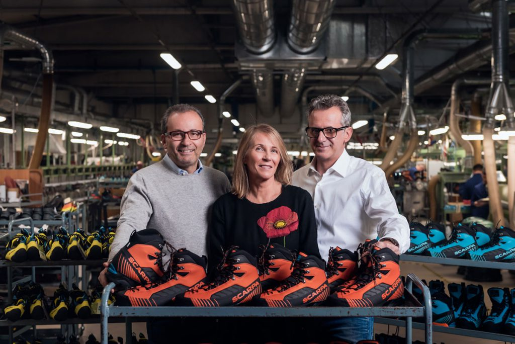 Cristina, Sandro e Davide Parisotto, proprietari di SCARPA, azienda di Asolo tra i leader mondiali nella produzione di calzature da montagna e le attività outdoor