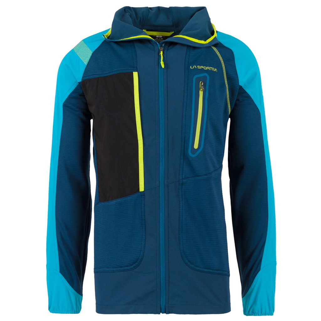 Mens fleece jacket for mountaineering Foehn JKT by La Sportiva, designed specifically to work properly with a climbing harness.