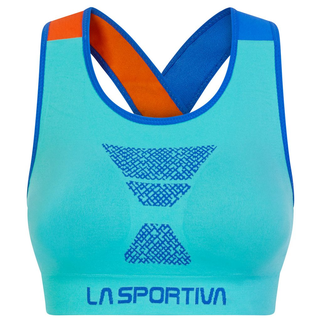 Climbing bra La Sportiva with elastic shoulder straps, removable cups and chafe free seamless construction ideal for indoor climbing or hot summer days