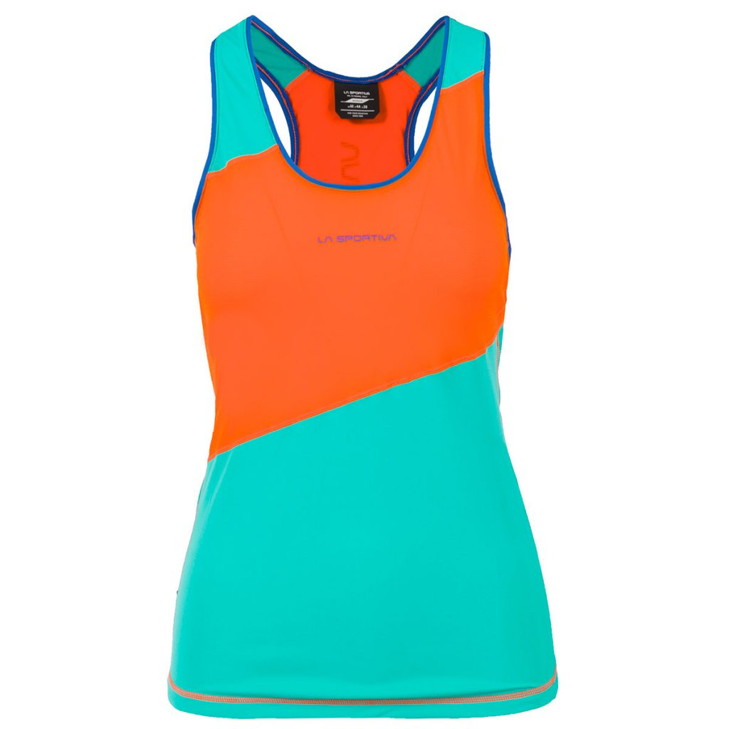 Racerbank tank top Drift Tank W by La Sportiva, lightweight and quick-dry perfect for any trail running session and will give you full freedom of movement.