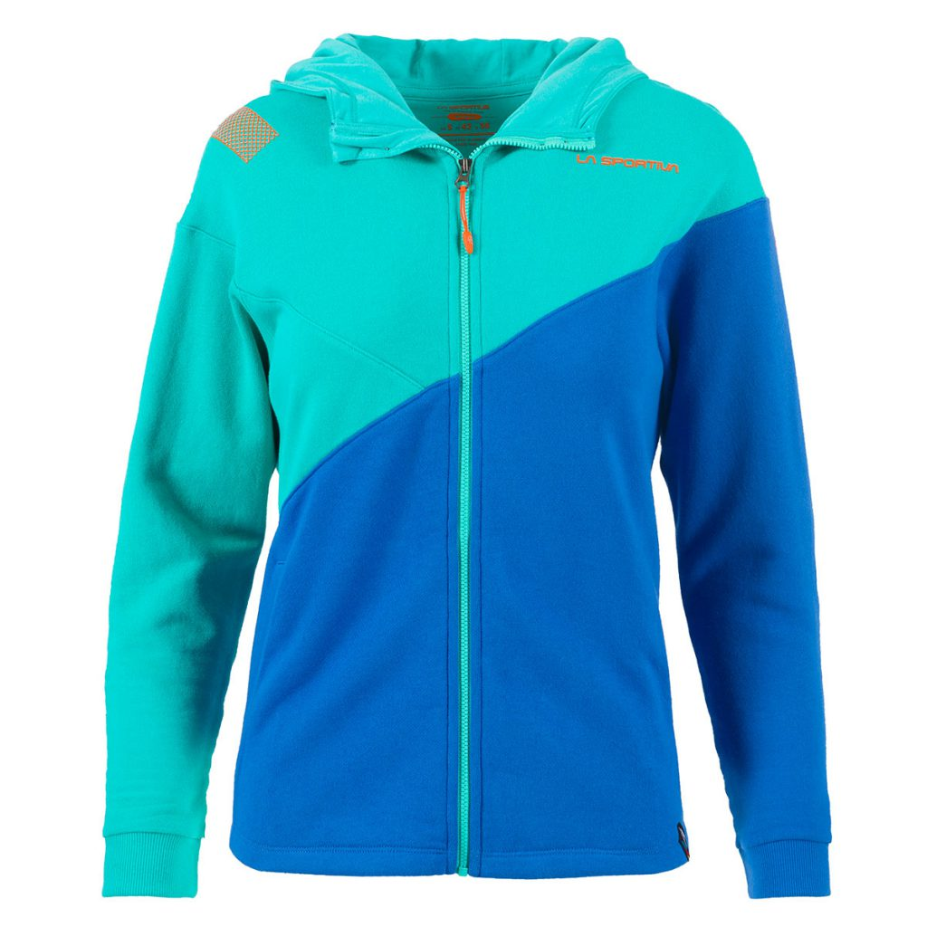 Climbing hoodie women Dolomia Hoody by La Sportiva in lightweight cotton fleece fabric, ideal for rock climbing and bouldering in spring and autumn.