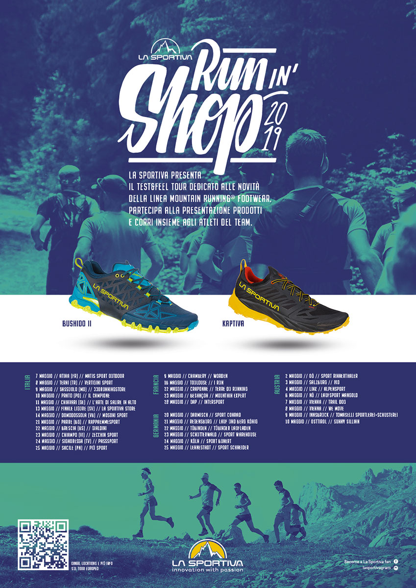 The second edition of the trail running La Sportiva Run in Shop Test & Feel tour will take place in May 2019, with 33 stages in 4 European countries