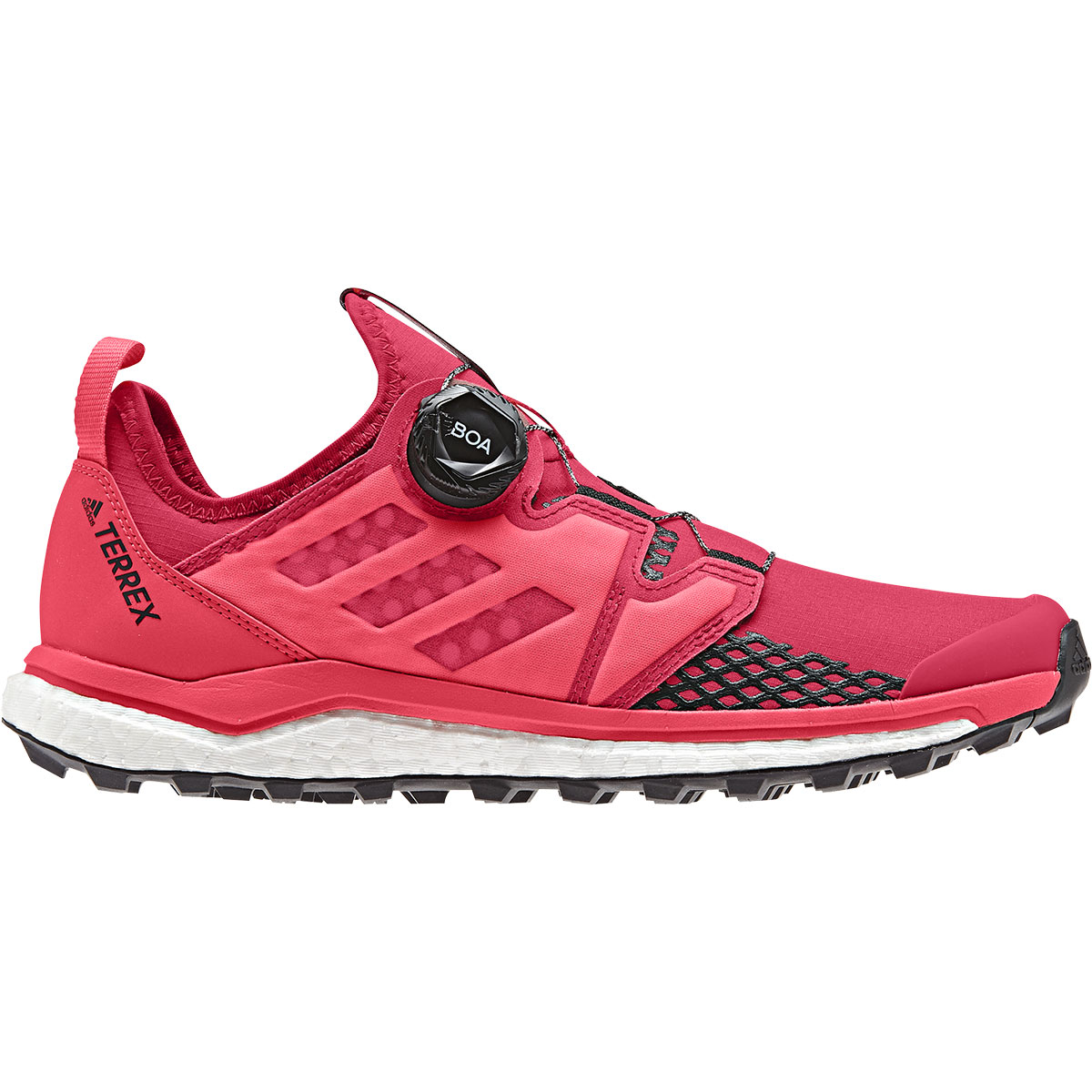 Womens trail running shoes with Boa Fit System for running in the mountains. The Boa Closure System adds unmatched adjustability and security