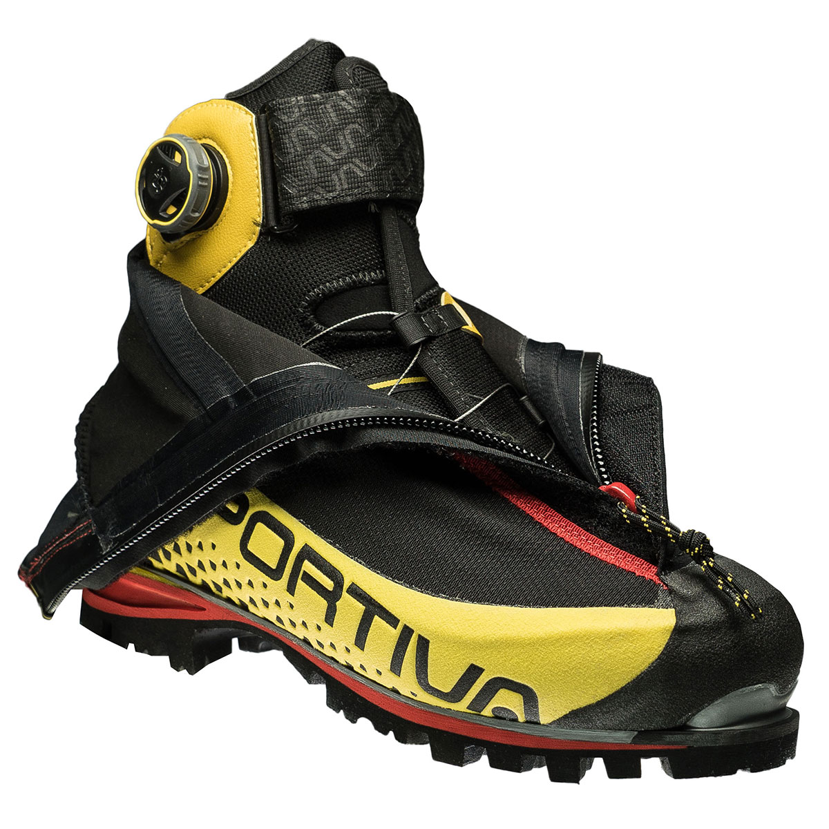 The La Sportiva G5 Boa Fit mountaineering shoe: the Boa Fit System was built for mountaineering as if our lives depended on it – delivering superior heel hold and stability, secure comfort, and effortless precision in bitter, biting conditions.