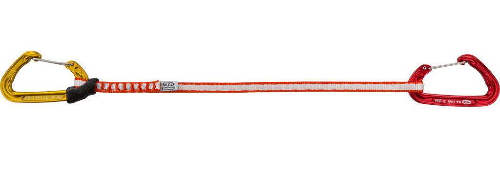 Rinvio lungo da arrampicata, disponibile con fettuccia da 35 e 55 cm, ideale per vie alpinistiche e vie sportive per evitare attriti della corda.