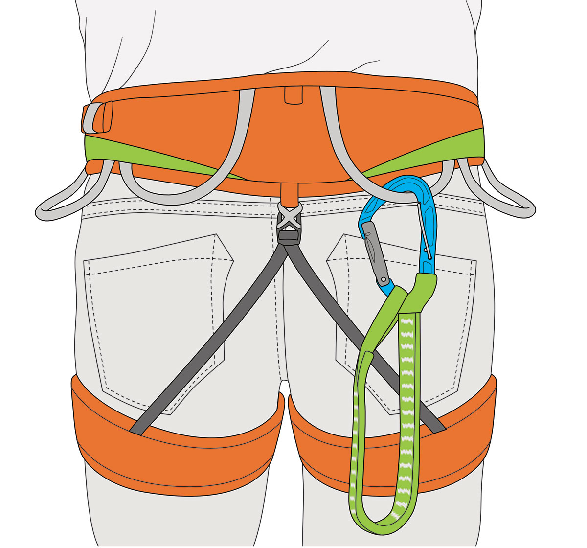 TRICKY by Climbing Technology: thanks to its flexible sling, TRICKY can be comfortably carried on the harness: the length of the system can be halved and its hanging bulk reduced
