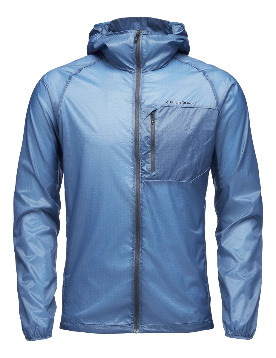 Lightweight Windbreaker jacket Distance Wind Shell by Black Diamond engineered to provide the ultimate lightweight wind protection in the mountains.