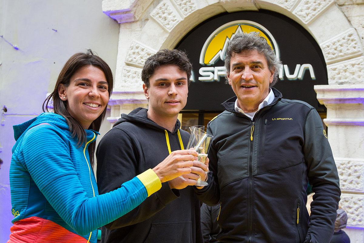 Lorenzo Delladio CEO di La Sportiva coni figli Giulia Delladio e Francesco Delladio
