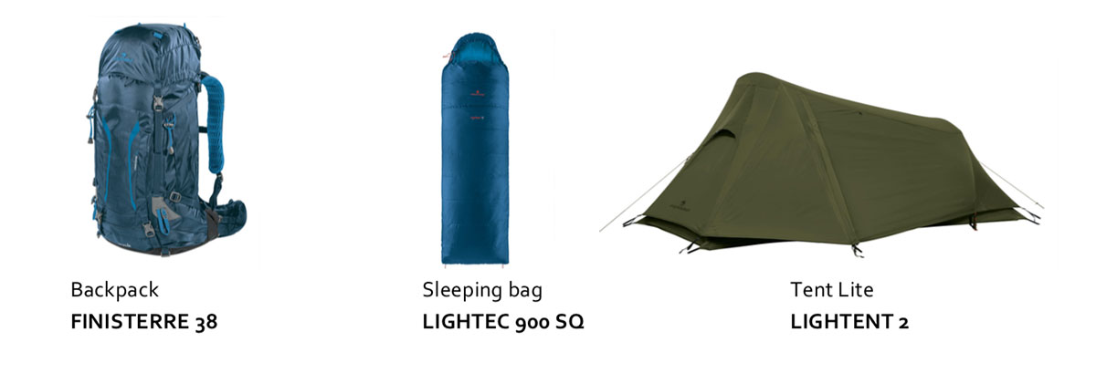 Ferrino Backpack FINISTERRE 38, Sleeping bag LIGHTEC 900 SQ , Tent Lite LIGHTENT 2