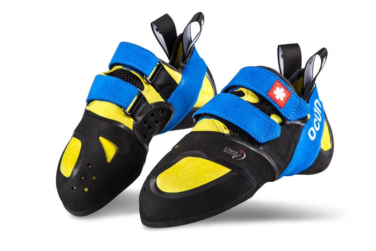 Ozone by Ocun: asymmetrical high performance and highly comfortable climbing shoes with unique 3-Force System design, for tiny footholds and great comfort