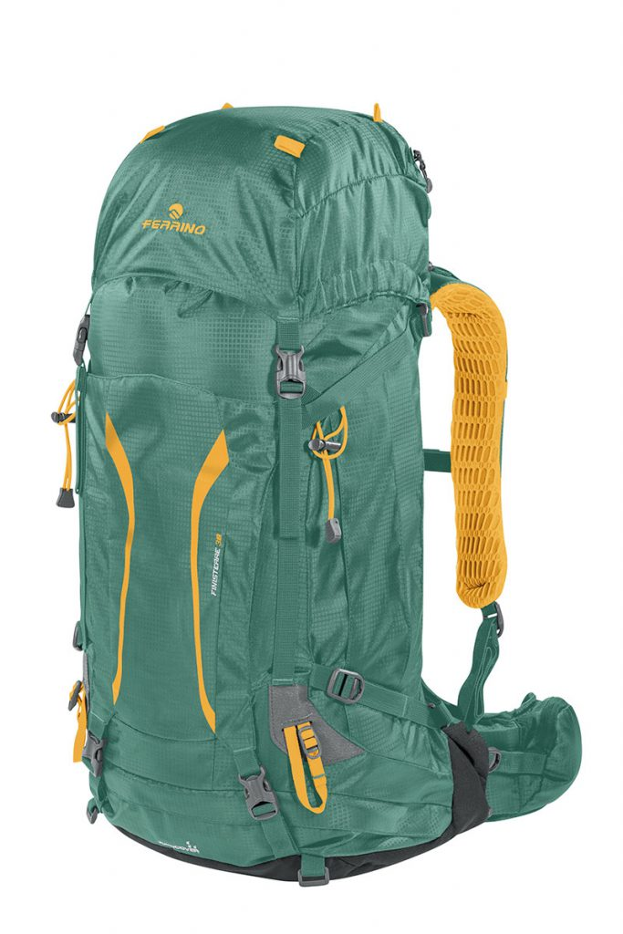 Ferrino Finisterre, an ideal hiking backpack for trekking, designed with a linear shape, complete with all of the equipment needed by the more expert user.