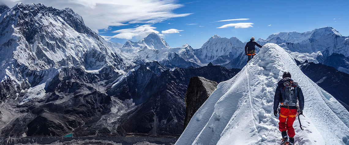 Interview with Millet athletes Aurélien Vaissière and Symon Welfringer after their ascent of Lobuche East in the Khumbu Himalaya.