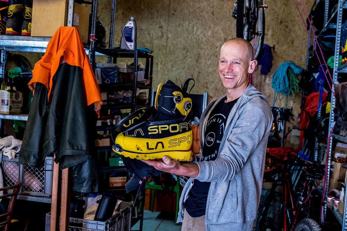 Austria's Max Berger showing his La Sportiva mountaineering boot with BOA closure system