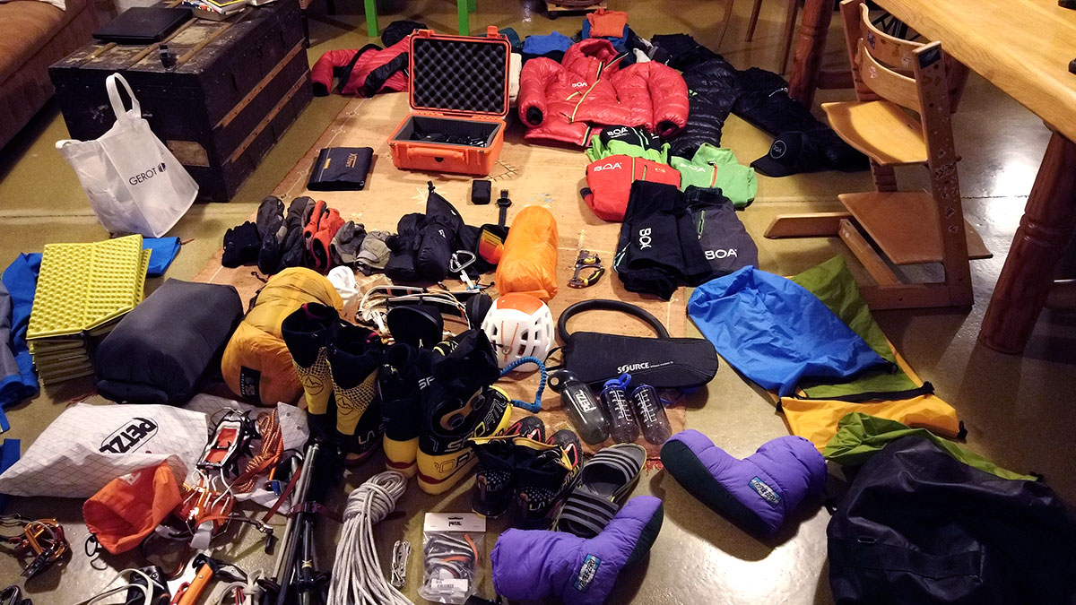The gear used by Max Berger of his BOA supported Climb2Fly project.