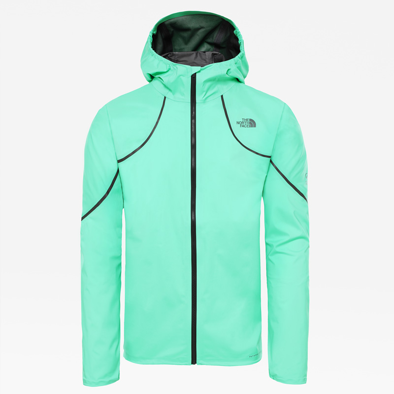 Men's Flight Futurelight trail running jacket by The North Face. Lightweight, packable and quiet, it provides an impenetrable barrier for guaranteed dryness