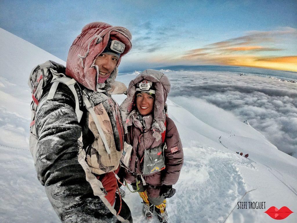 Stefi Troguet on the summit of Manaslu, her second 8000er after Nanga Parbat