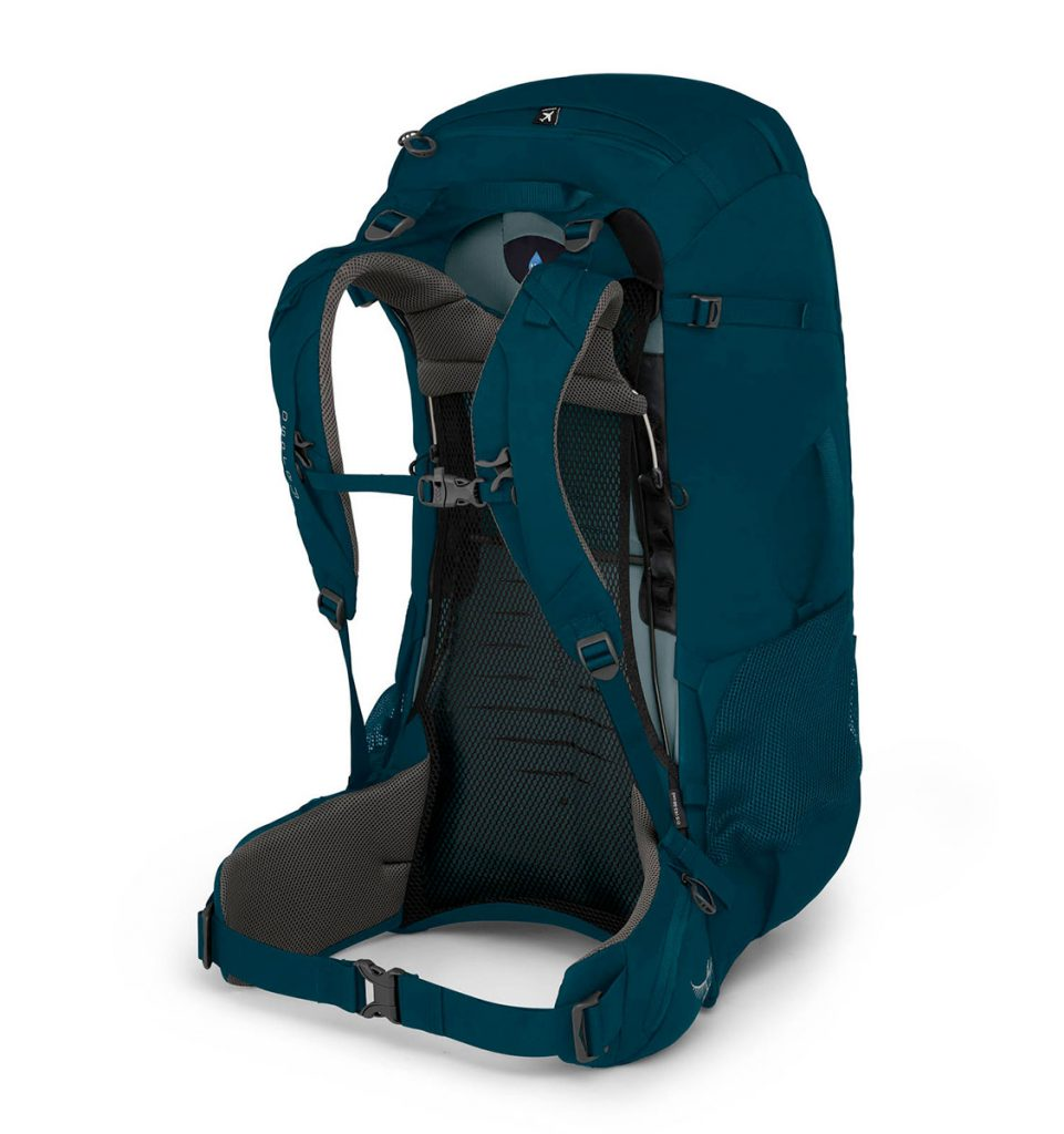 Trekking backpack Osprey Farpoint Trek 55 liters with raincover, hidden security pockets, and suitcase style opening for easy packing and access.