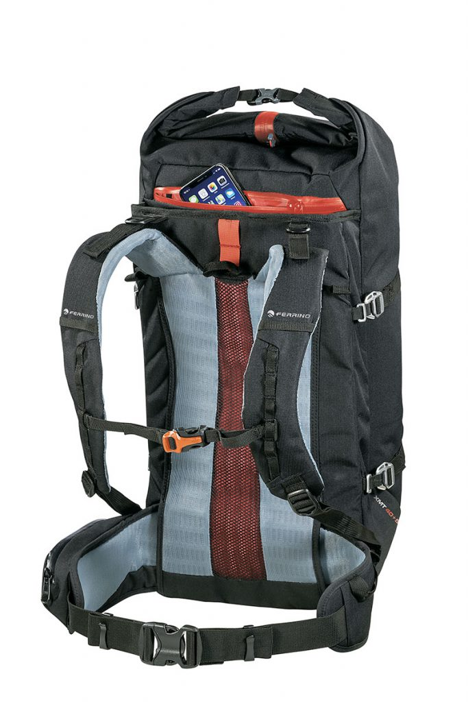 Lightweight mountaineering backpack XMT 40+5 by Ferrino. Weighing between 0.95 and 1.6 kg this is ideal alpinism, climbing, ski mountaineering