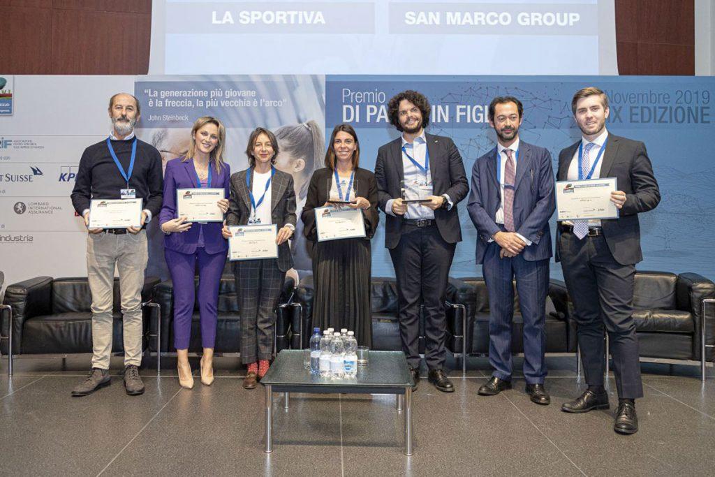 """La cerimonia di premiazione del Premio """"Di padre in figlio"""", vinto da La Sportiva."""