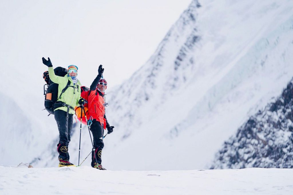 Tamara Lunger and Simone Moro attempting the winter enchainment of Gasherbrum I (8.068 m) and Gasherbrum II (8.035 m)