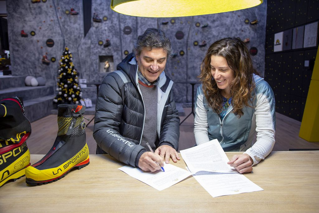 South Tyrolean mountaineer Tamara Lunger with Lorenzo Delladio, CEO and President La Sportiva