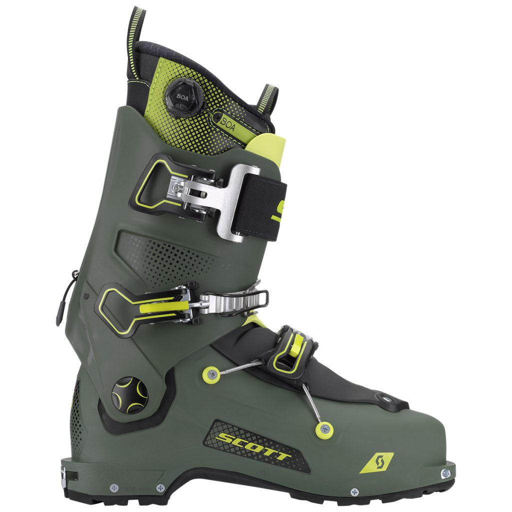 Scott Freeguide Carbon is the new standard in freetouring ski boots; integrated rear ski/walk mechanism for ultimate downhill skiing performance.