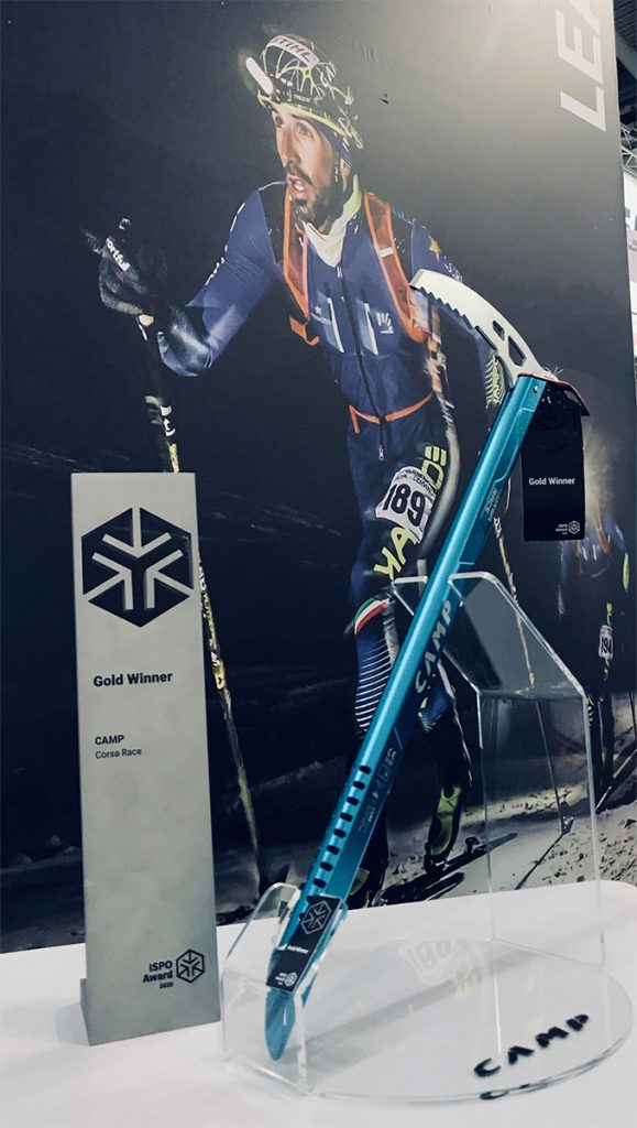 The new CAMP Corsa Race ice axe, recently previewed at the ISPO fair in Munich, obtained the ISPO Gold Award 2020.