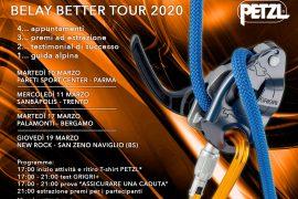A marzo il Petzl Belay Better Tour 2020, il tour di 4 palestre di arrampicata a Parma, Trento, Bergamo e Brescia per condividere l'arte di assicurare nell'arrampicata.