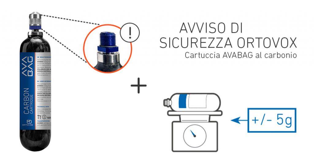 Nelle cartucce in carbonio airbag AVABAG Ortovox prodotte in un determinato periodo, può verificarsi una perdita di pressione.