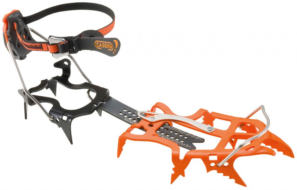 Ice climbing crampons Cassin Alpinist Tech, our lightest technical ice crampon ideal for top level alpinism where the secondary point provides extra stability on hard snow and mixed terrain.