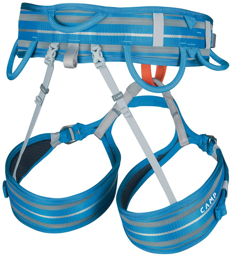 Lightweight comfortable climbing harness CAMP Impulse CR with adjustable leg loops, differentiated color belay loop and four contoured gear loops