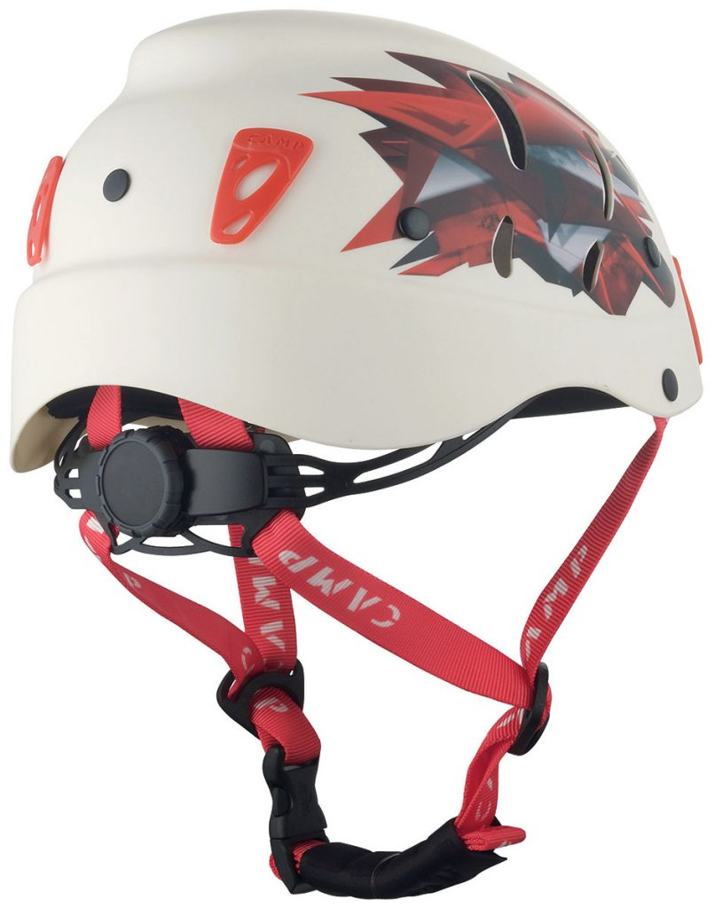 Robust climbing helmet for alpinism, via ferrata with side holes for ventilation, easy-to-use rotating size adjustment wheel and large headlamp clips