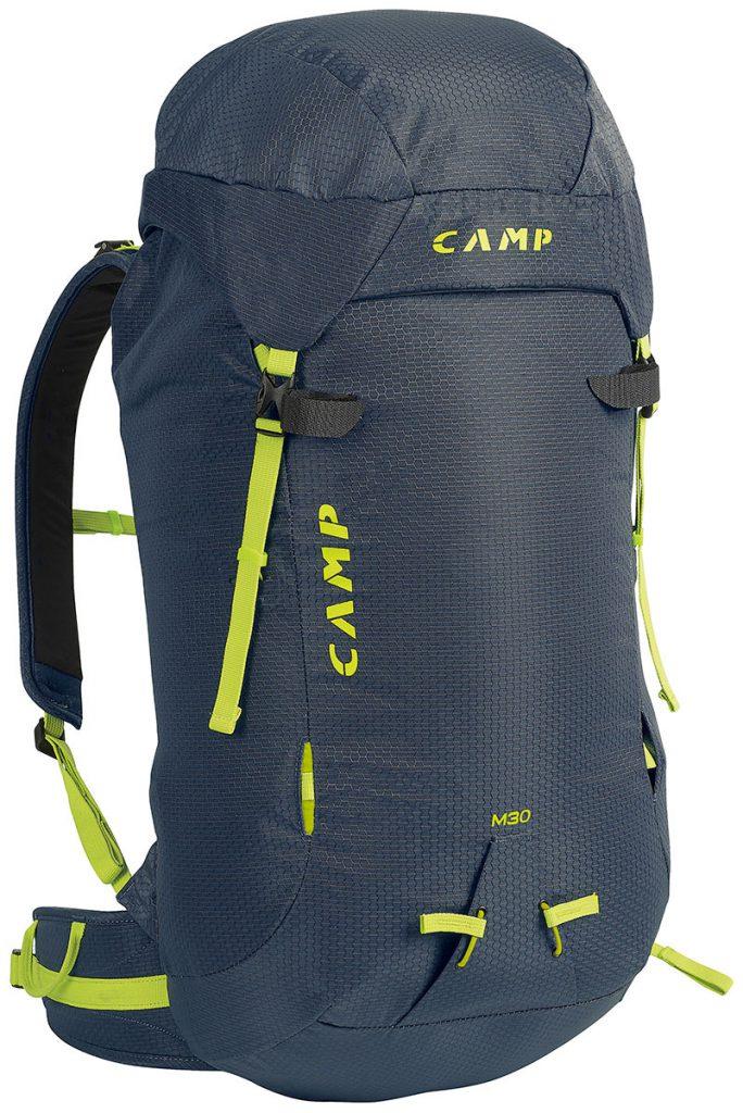 Zaini da alpinismo e per cascate di ghiaccio M30 di CAMP, da 30 litri con cappuccio amovibile, apertura sullo schienale ed un peso di soltanto 1100 grammi.