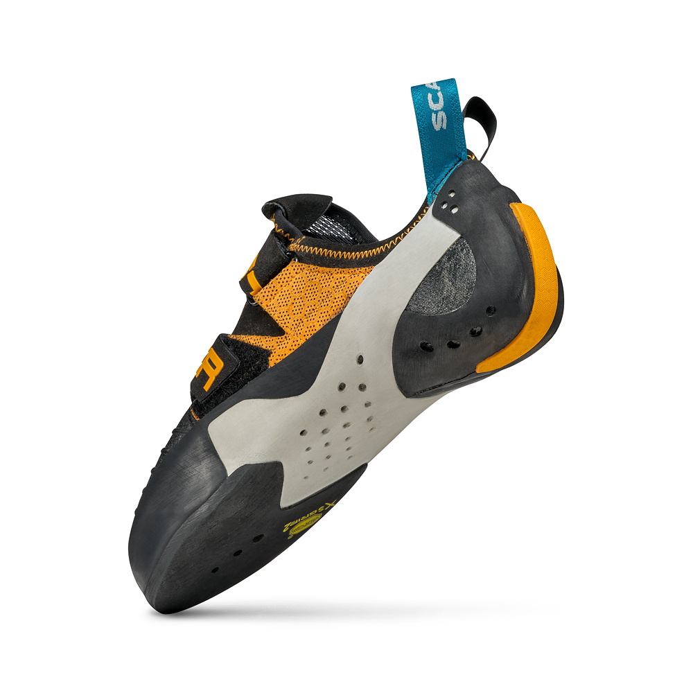 Climbing shoes SCARPA Booster for sport climbing and bouldering with full microfiber upper, twin Velcro straps, Vibram sole