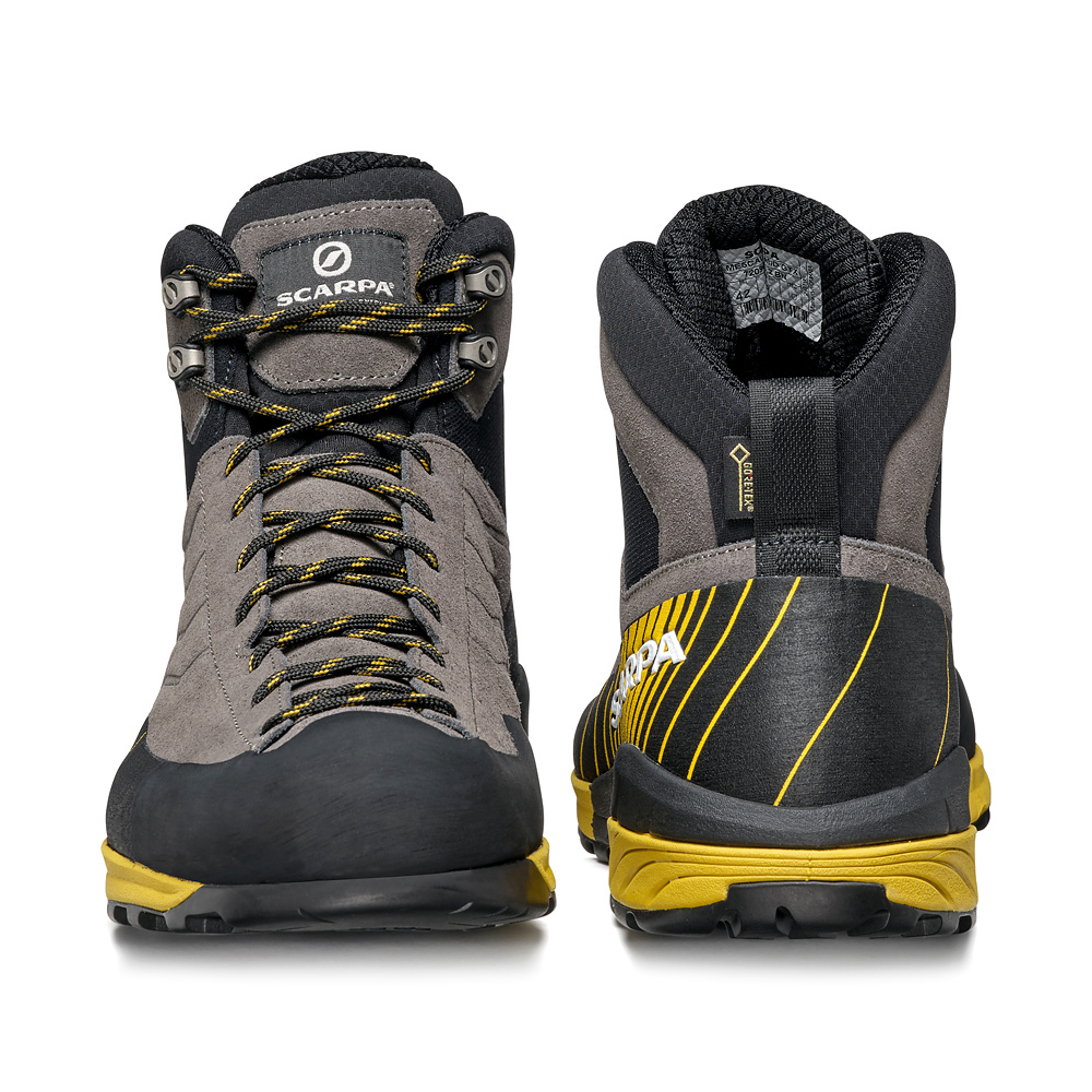 Technical approach shoe SCARPA Mescalito Mid GTX, ideal for classic mountain approach or wet trails durable and versatile with Vibram sole.