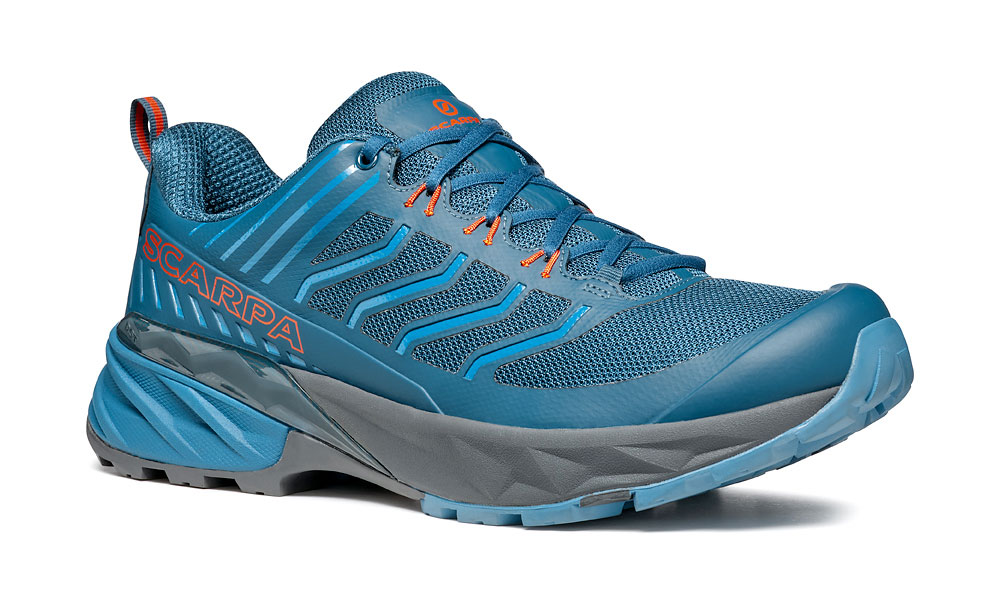 Long distance trail running shoes SCARPA Rush designed for off-road trails on wet terrain with high level of cushioning, protection, support and reactivity