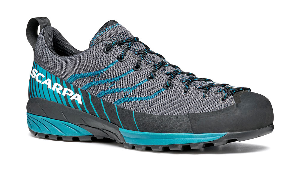 Lightweight climbing approach shoes SCARPA Mescalito KN for use on mountain paths during the summer.